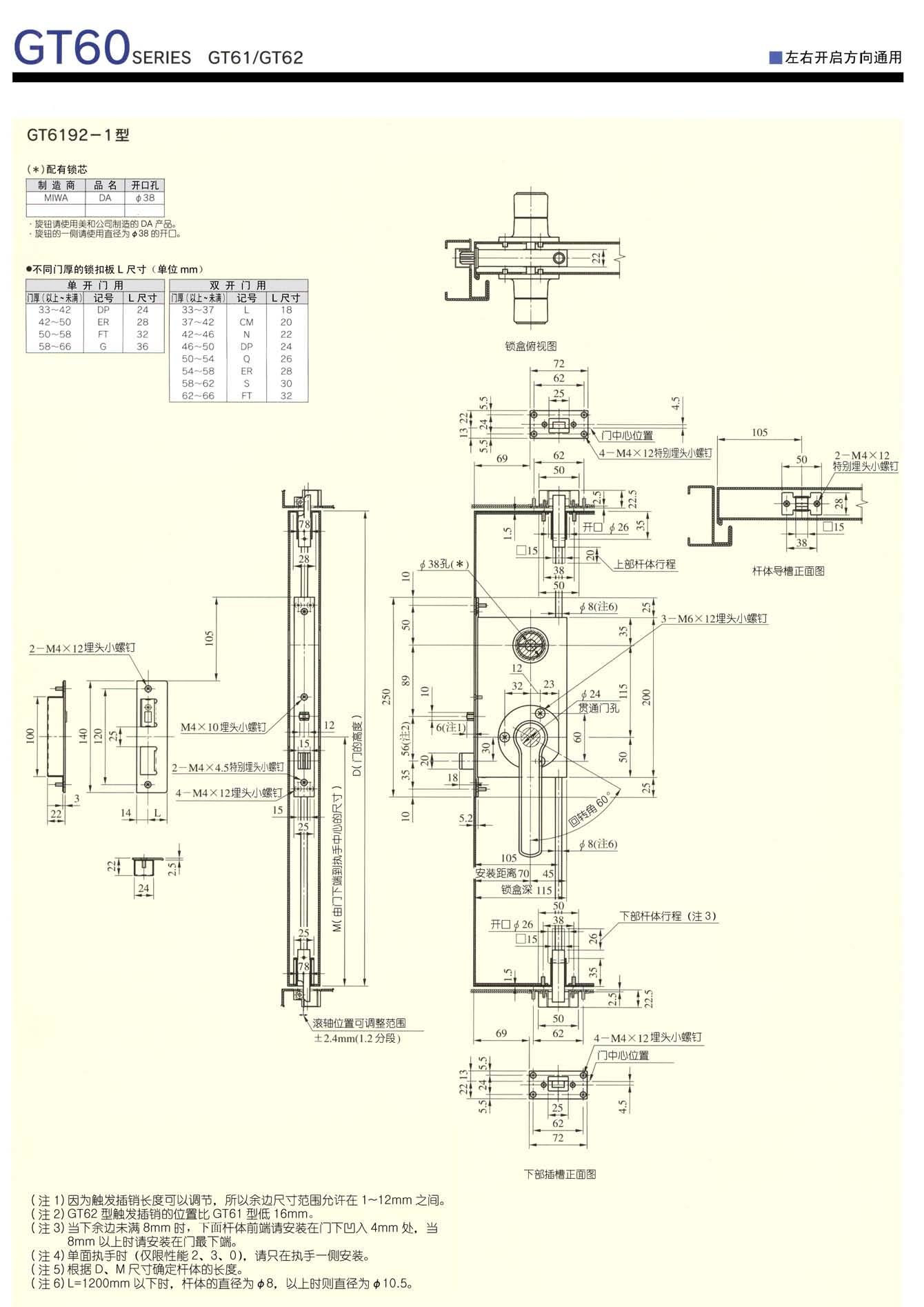 日本MIWA(美和)气密锁安装尺寸图